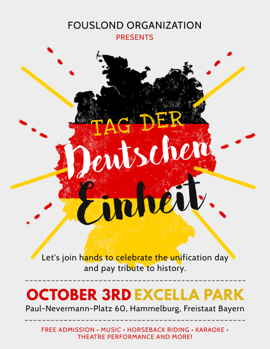German Day of Unity Flag Flyer Template