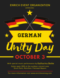 German Unity Black and Yellow Flyer Template