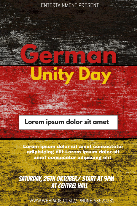 German unity day event flyer template