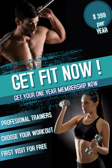 Get fit now Plakat template