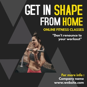 Get in shape from home instagram post adverti