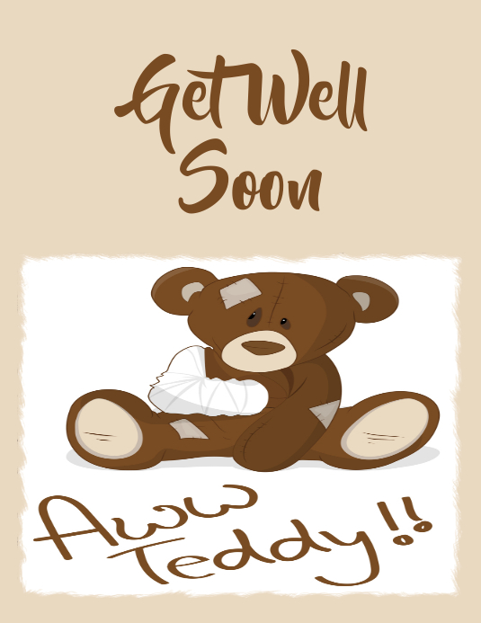 Get well soon, greeting card Volante (Carta US) template