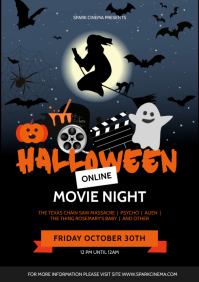 Ghost Halloween Movie Night Online Poster A4 template