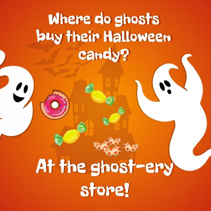 Ghost Puns Halloween โพสต์บน Instagram template