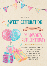 Gift birthday party invitation