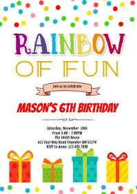 Gift box birthday card invitation A6 template