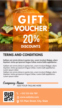 gift card voucher restaurant 20% off template