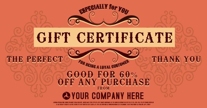 Gift Certificae Imagem partilhada do Facebook template