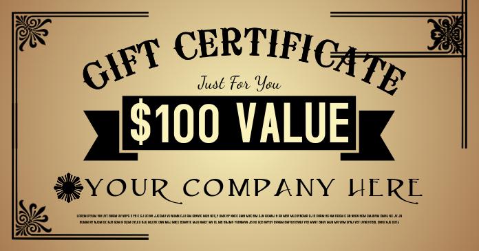 Gift Certificate Obraz udostępniany na Facebooku template