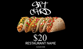 Gift Voucher / Gift Card Taco bar Template Cartellino