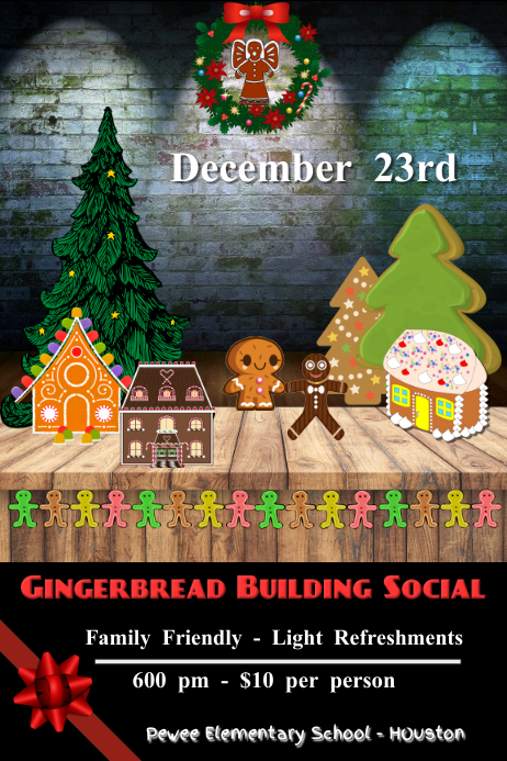 gingerbread contest/gingerbread activity/fun Poster template