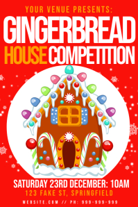Gingerbread House Competition Poster template