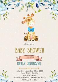 giraffe baby shower party invitation