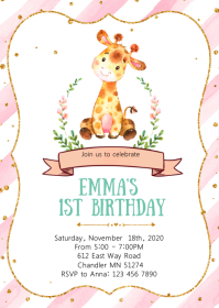 Giraffes 1st birthday party invitation