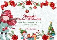 Girl's Christmas Winter Birthday Invitation 明信片 template