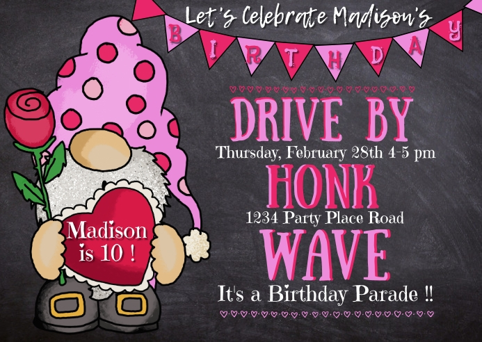 Girl's Drive By Birthday Gnome Postcard template