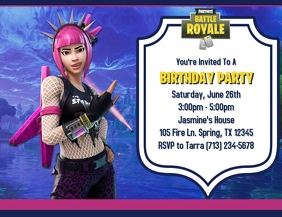 GIRL'S FORTNITE BIRTHDAY INVITATION