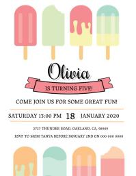 Girl's Ice Cream Birthday invitation Template