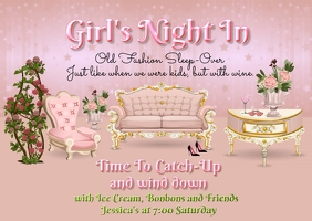 Girl's Night In Briefkaart template