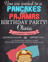 Girl's Pajamas Birthday invitation Template