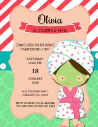 Girl's Spa Birthday invitation Template
