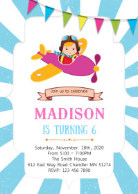 Girl airplane birthday invitation A6 template