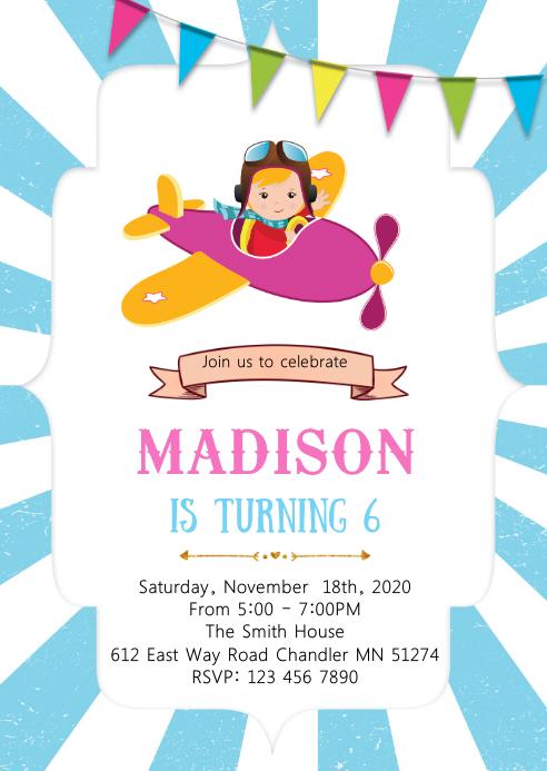 Girl airplane birthday invitation