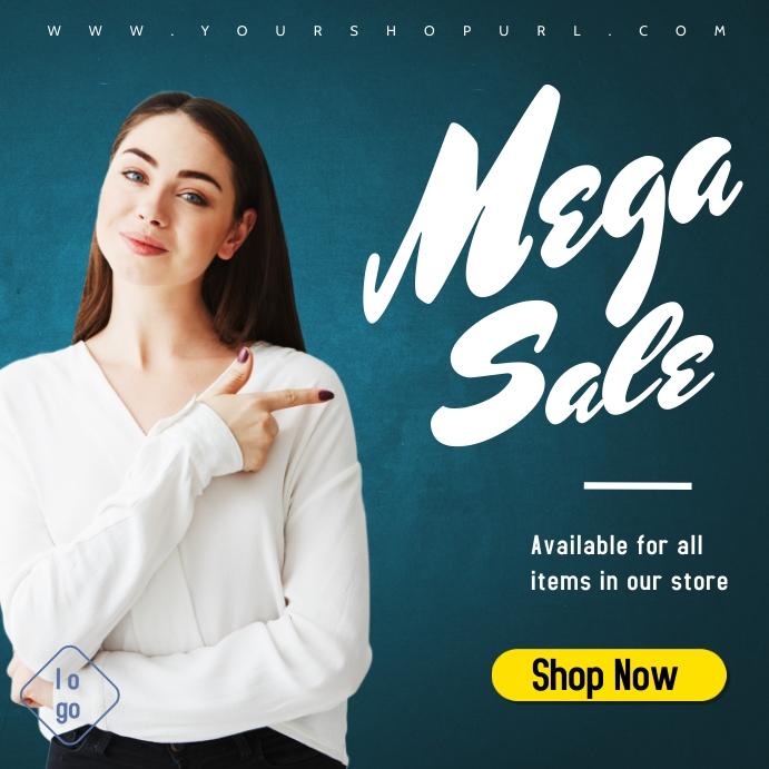 Girl announcing instgram product servic sale Instagram Post template