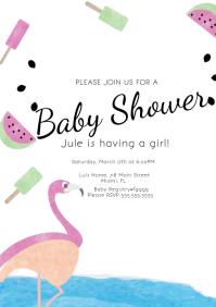 Girl Baby Shower Flamingo Digital Invitation A4 template
