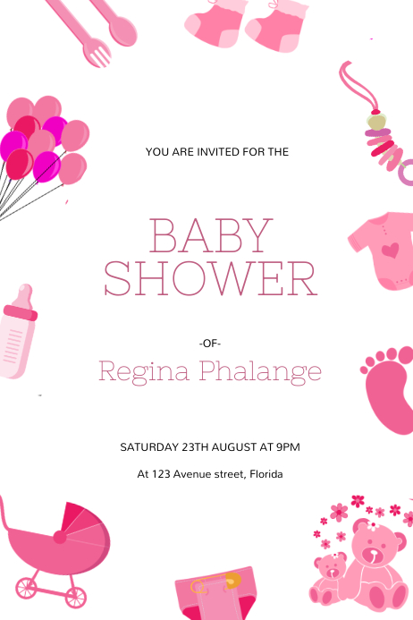 Girl Baby Shower Flyer Design Template PosterMyWall
