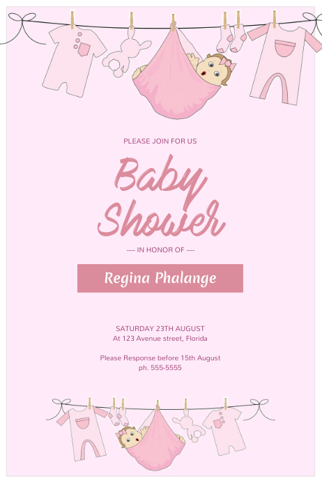 Girl Baby Shower Flyer Template PosterMyWall