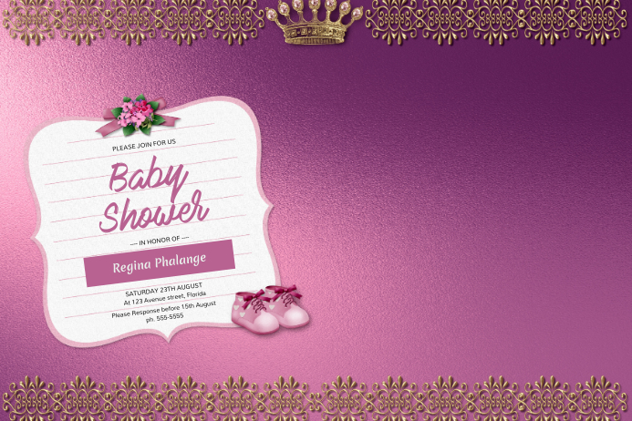 Girl Baby Shower Invitation Template Postermywall