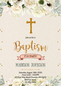 Girl baptism theme party invitation