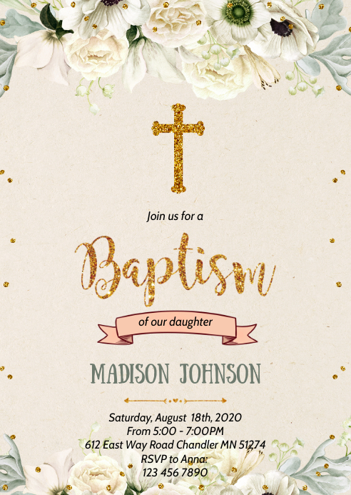 Girl baptism theme party invitation A6 template