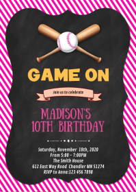 girl baseball birthday party invitation A6 template