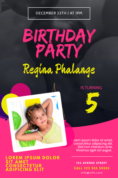Girl Birthday Party Invitation Flyer Template