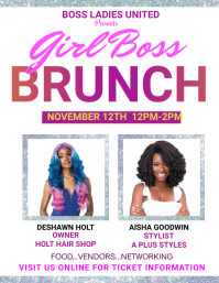 girl boss empowerment leadership brunch Flyer (US Letter) template
