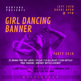 Girl Dancing Retro Party Square Banner