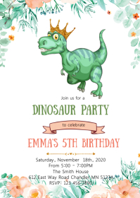 Girl Dinosaur birthday party invitation A6 template