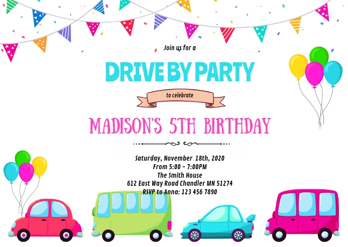 Girl drive by birthday invitation A6 template