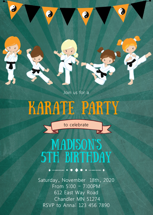 Girl Karate birthday party invitation A6 template