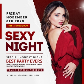 Girl Night Club Flyer Template Instagram Post