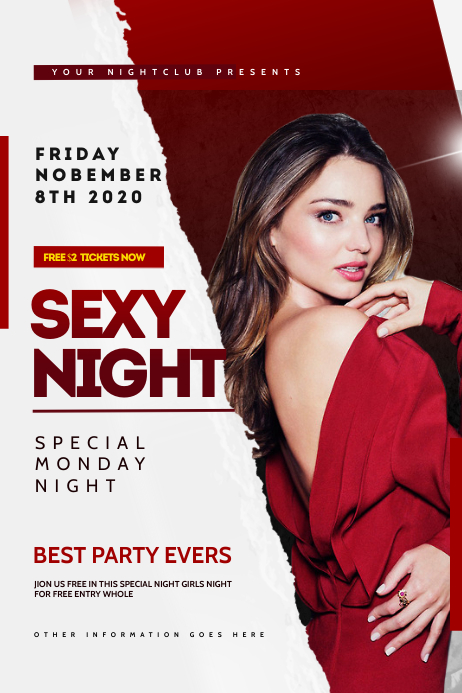 Girl Night Club Flyer Template 横幅 4' × 6'