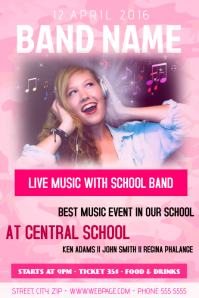 girl pink school band flyer template