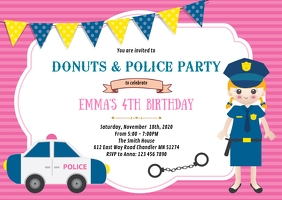 Girl police birthday party invitation