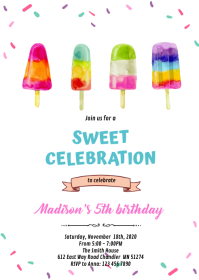 Girl popsicle birthday invitation A6 template