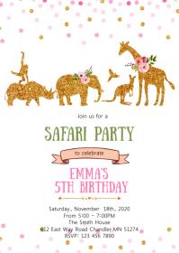 Girl safari birthday party invitation