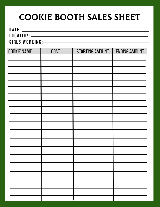 Girl Scout Cookie Booth Tally Sheet Flyer (US Letter) template