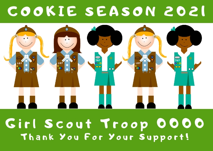 girl scout cookie season Postcard template