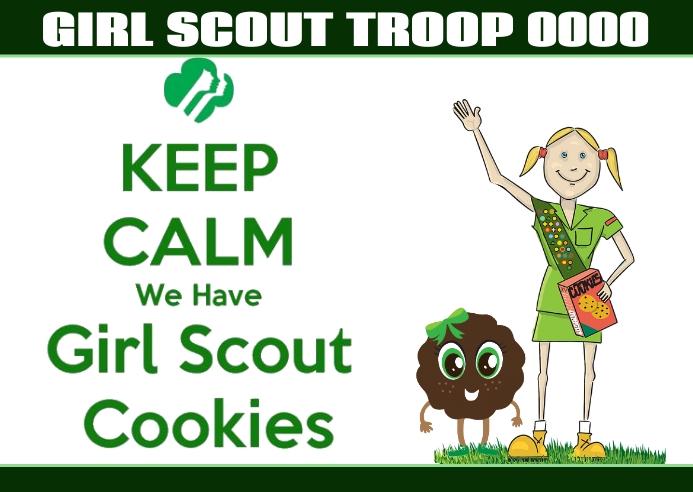 Girl Scout Troop cookie saled Postkort template